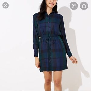 Loft S navy and forest green plaid dress